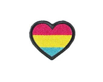 Pansexual Pride Heart Iron On Embroidered Patch