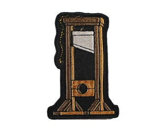 Mini Guillotine Iron On Embroidered Patches