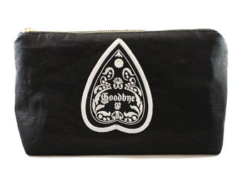 Goodbye-Planchette-Ouija Board-Fully Lined-Cotton Linen-Makeup Bag-Stash Bag