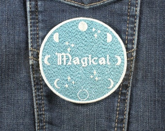 Magical Moon Phase Iron On Embroidered Patch On Glitter Twill