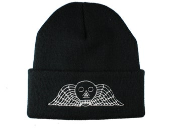 Winged Skull Victorian Mourning Embroidered Winter Black Beanie