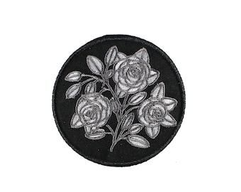 Broken Bouquet-Mourning-Cemetery-Black And Silver-Embroidered-Iron On Patch