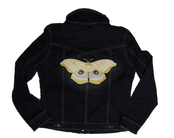 Polyphemus Moth-Giant Moth-Embroidered-Iron On-Sew On- Made To Order Backpatch