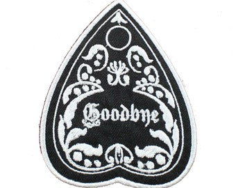 Goodbye-Planchette-Black And White-Goth-Ouija-Embroidered-Iron On-Sew On Patch