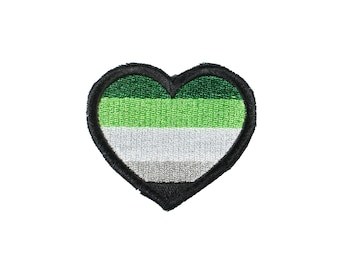 Aromantic Pride Heart Iron On Embroidered Patch