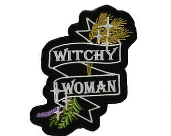 Witchy Woman-Lavender-Rosemary-Thyme-Banner-Star-Embroidered-Iron On-Sew On Patch