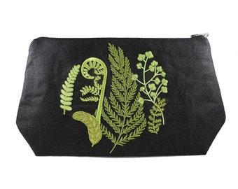Fern-Embroidered-Stash Bag-Make Up Bag