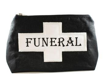 Funeral Flag-Fully Lined-Cotton Linen-Makeup Bag-Stash Bag