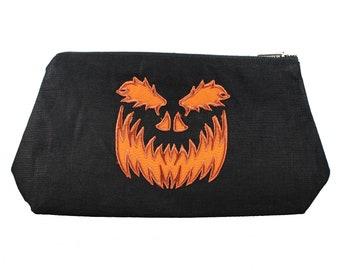 Scary Pumpkin-Black-Linen- Embroidered-Stash Bag- Make Up Bag
