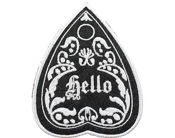 Hello Planchette-Black And White-Goth-Ouija-Embroidered-Iron On-Sew On Patch