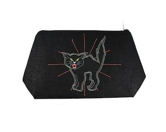 Black Cat- Halloween- Black Linen- Embroidered-Stash Bag-Make Up Bag