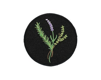 Rosemary-Lavender-Thyme Bundle-Protection Spell-Kitchen Witch-Black-Embroidered-Iron On Patch