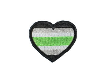 Agender Pride Heart Embroidered Iron On Patch