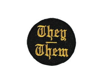 They Them-Pronoun-Embroidered-Iron On-Sew On Patch