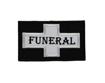 Funeral Flag- Applique- Black- White- Embroidered-Iron On- Sew On Patch