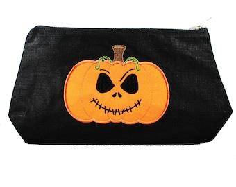 Jack-Pumpkin King-Applique-Black-Linen- Embroidered-Stash Bag- Make Up Bag