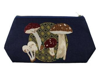 Mushroom-Navy-Linen- Embroidered-Stash Bag- Make Up Bag
