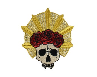 Rose Crown-Skull-Gold-Metallic-Embroidered-Iron On-Sew On Patch