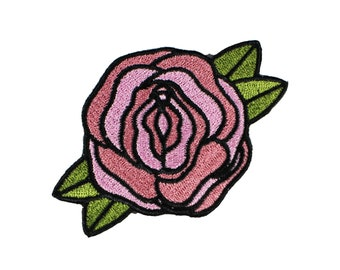 Pussy-Pink-Flower-Embroidered-Iron On-Sew On Patch