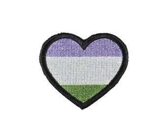 Genderqueer Pride Heart Iron On Embroidered Patch