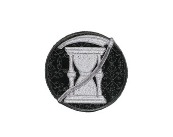 Hourglass And Scythe- Cemetery Gate-Silver-Black-Historical Art-Iron On-Sew On-Embroidered Patch