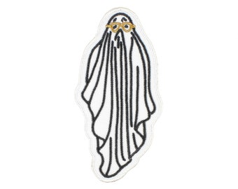Bob The Ghost-Halloween-Embroidered-Iron On-Sew On Patch