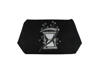 Hourglass And Scythe- Cemetery Gate-Silver-Black-Historical Art-Black Linen-Stash Bag