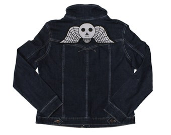 Winged Skull-Victorian-Mourning-Cemetery-Embroidered-Iron On-Sew On-Back Patch