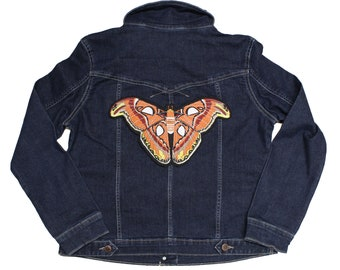 Atlas Moth-Life Size-Embroidered-Iron On Embroidered-Back Patch