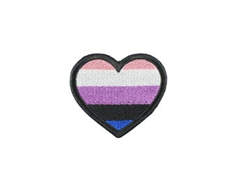 Genderfluid Pride Heart Iron On Embroidered Patch