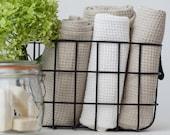 Natural linen waffle bath sheet, Linen bath towel, Large sauna towel, Softened hand towel, Organic bath towel