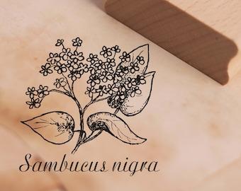 Stamp Sambucus nigra Wood Stamp Scrapbooking 38 x 38 mm Approx Motif Stamp Black Elderberry Plant Natural Herbs Botany Garden
