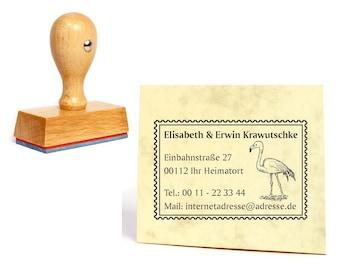 Address stamp stamp Flamingo 40 mm