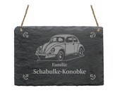 Slate board OLDTIMER AUTO with personal wishful engraving wish text family family name name doorstep doorsign door dealership retro