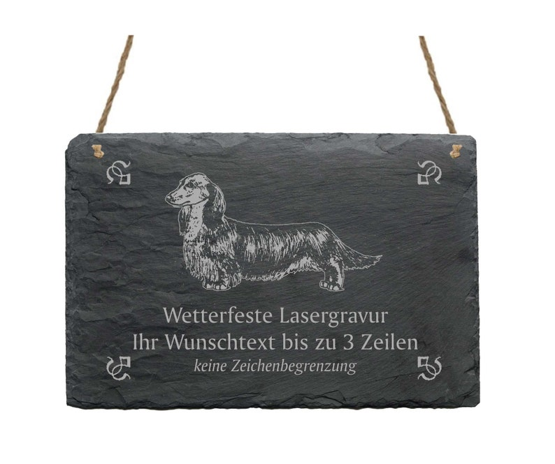 Dachshund wire-haired slate with desire engraving