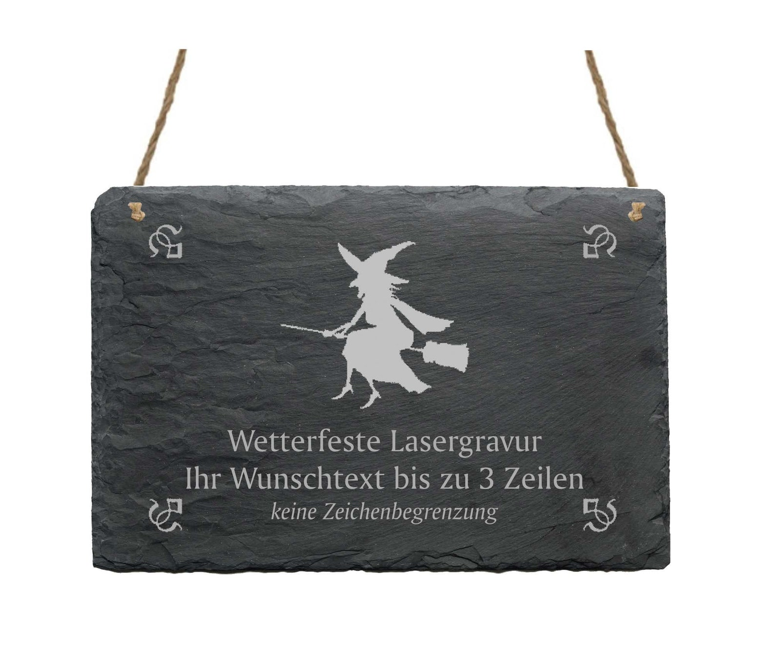 Slate board «flying HEXE» with personal wishful engraving