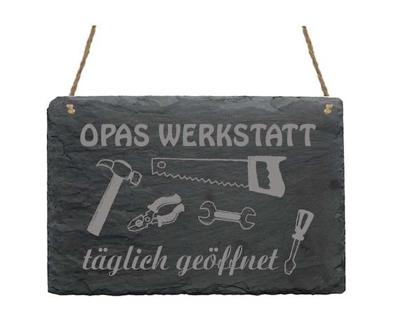 täglich geöffnet » Geschenk Opa Werkzeug Keller Hammer Schild « OPAS WERKSTATT