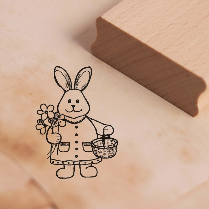 Scrapbooking Wood Stamp Kids Stamp Easter Easter Stamp Bunny Spring Flowers 28 x 38 mm Stamp Woman Easter Bunny Motif Stamp Approx