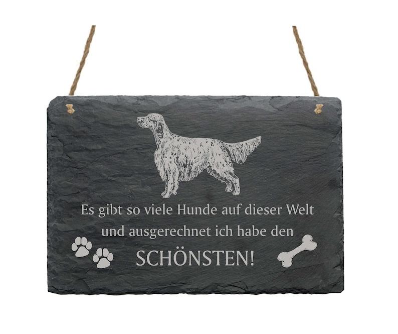 Slate board \u00abENGLISH SETTER-Most Beautiful Dog\u00bb Dogs Sworsh Shield Decoration Door Break Gift Dog Owner England Wales