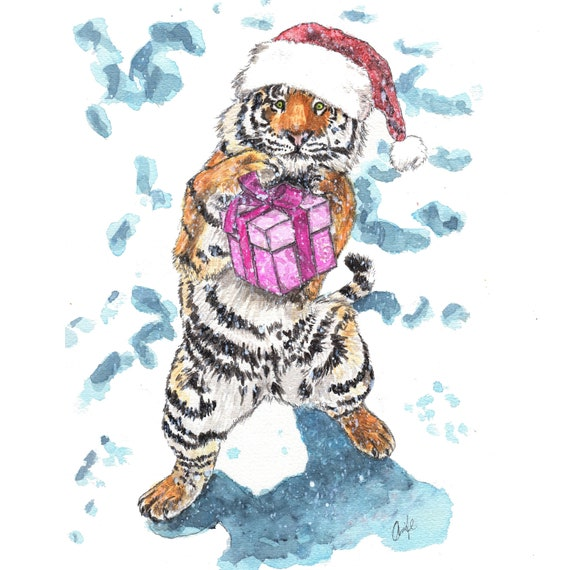 Printing Your Own Christmas Cards.Printable Christmas Cards Tiger Greeting Card Print Your Own Digital Download