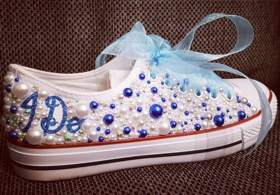 a3573f315f1f0 Wedding sneakers/something blue/wedding shoes/Wedding converse/Wedding  bling/bling converse/pearl sneakers/personalised shoes/unique
