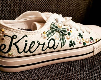 Sneakers/St Patrick's Day shoes/ personalised sneakers/converse/trainers/shamrock shoes/Irish sneakers/bling sneakers/glam shoes