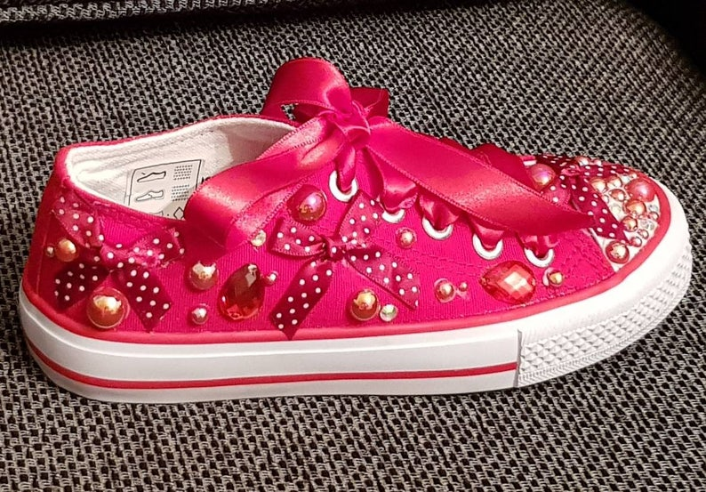63a92cda754b8 Kids converse/Kids customised converse/not converse/diamante sneakers/Kids  trainers/Bow sneakers/red trainers/sparkle shoes/bling/wedding