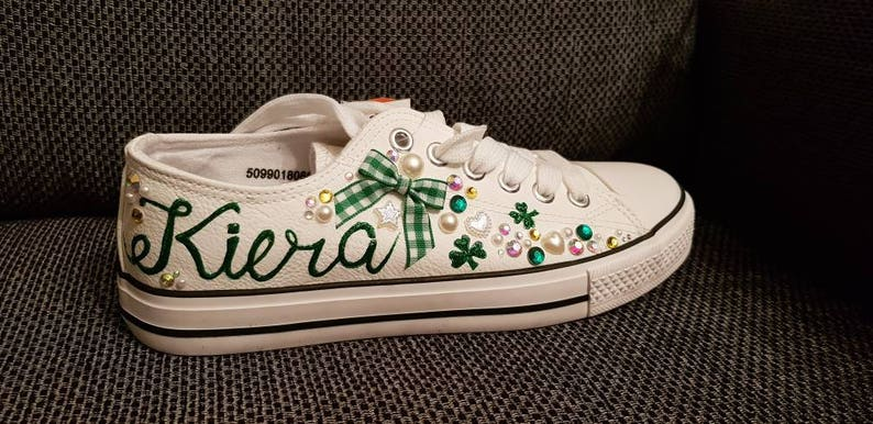 1f66cf7cf330d Sneakers/St Patrick's Day shoes/ personalised  sneakers/converse/trainers/shamrock shoes/Irish sneakers/bling  sneakers/glam shoes