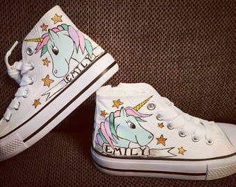 Converse/unicorn sneakers/unicorn hi tops/unicorn converse/unicorn shoes/custom converse/personalised sneakers/not converse shoes/canvas
