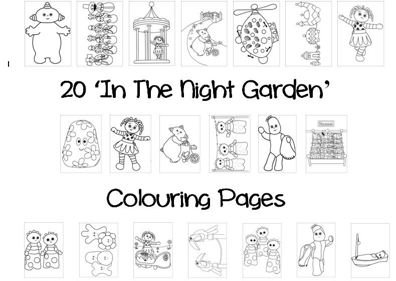 In The NIGHT GARDEN Colouring Book Pack 20 x A4 Sheets