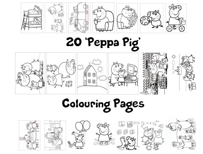 Coloriage Paques Peppa Pig.Peppa Pig Colouring Book Pack 20 X A4 Sheets Rainy Etsy