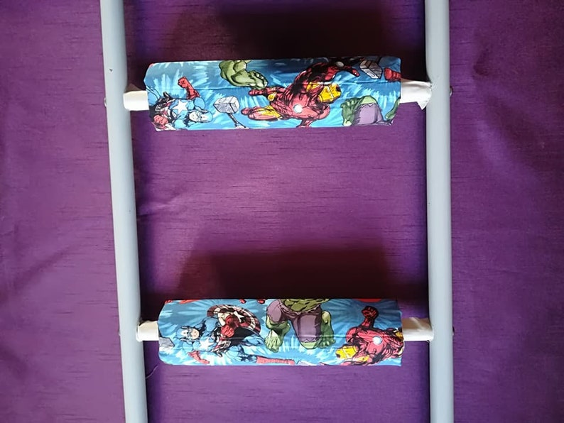 SuperheroMarvel ComicThorIronMan *No-Tool Install**Safe Padded Bunk Bed Ladder Rung Covers Nonslip** MARVEL AVENGERS RUNGEEZE\u2122