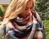 Nutmeg, OVERSIZED SQUARE Blanket Scarf, Winter scarf, large scarf, Blanket scarf, Plaid Scarf, Bridesmaid Scarf, scarves, women 39 s scarf