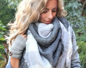 Greys on Greys, OVERSIZED SQUARE blanket scarf, plaid scarf, blanket scarf women, winter scarf, bridesmaid scarf